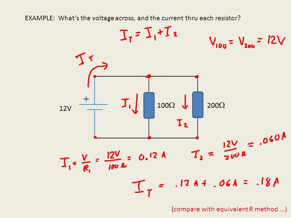 EXAMPLE: What's the voltage across, and the current thru each resistor?