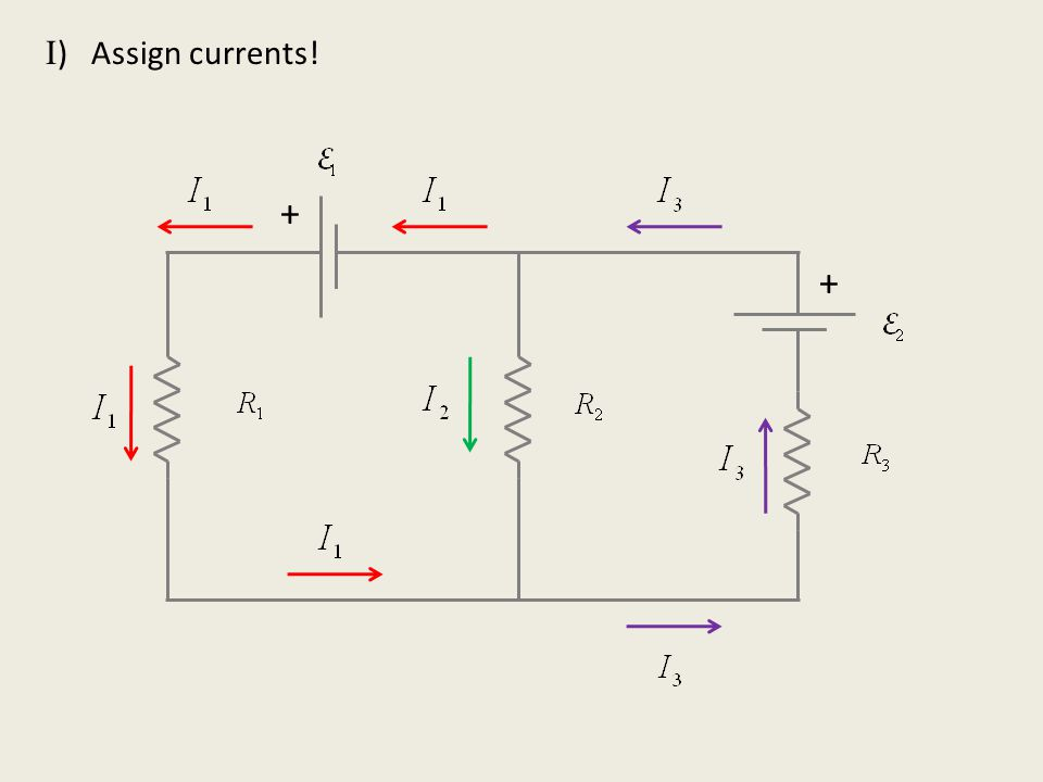 II ) Look at currents in & out of nodes + +
