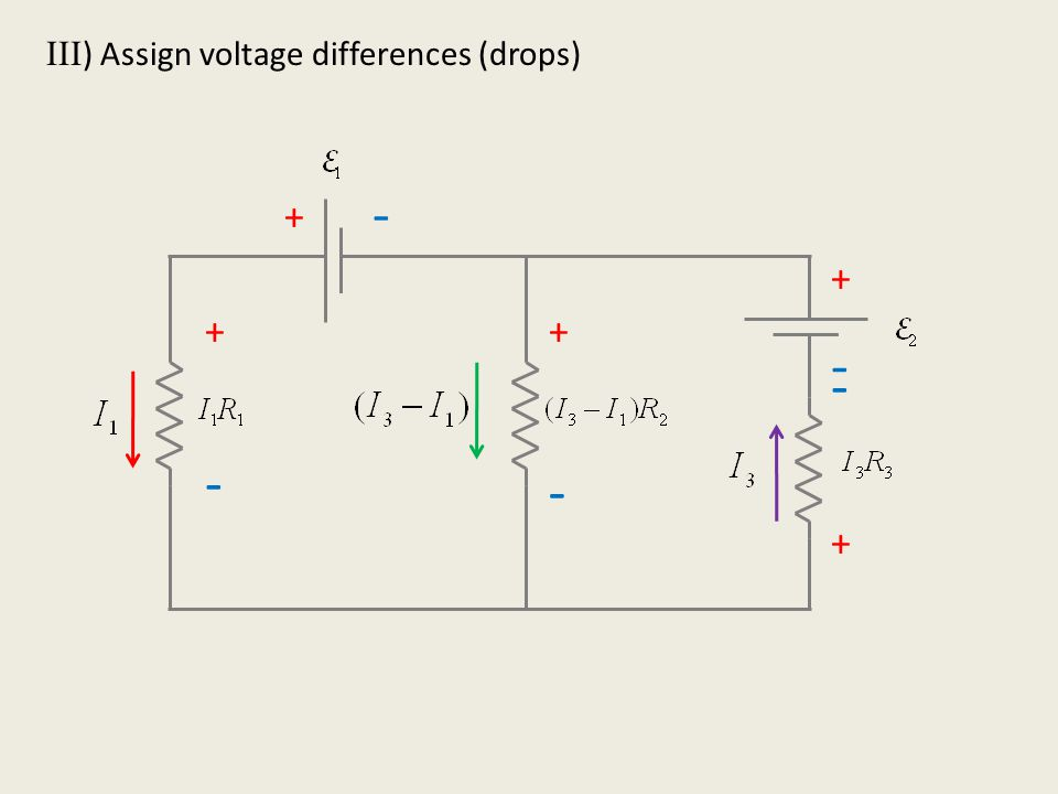 IV ) Loops! Voltage differences must add to zero + - + + + - - - + - a bc d