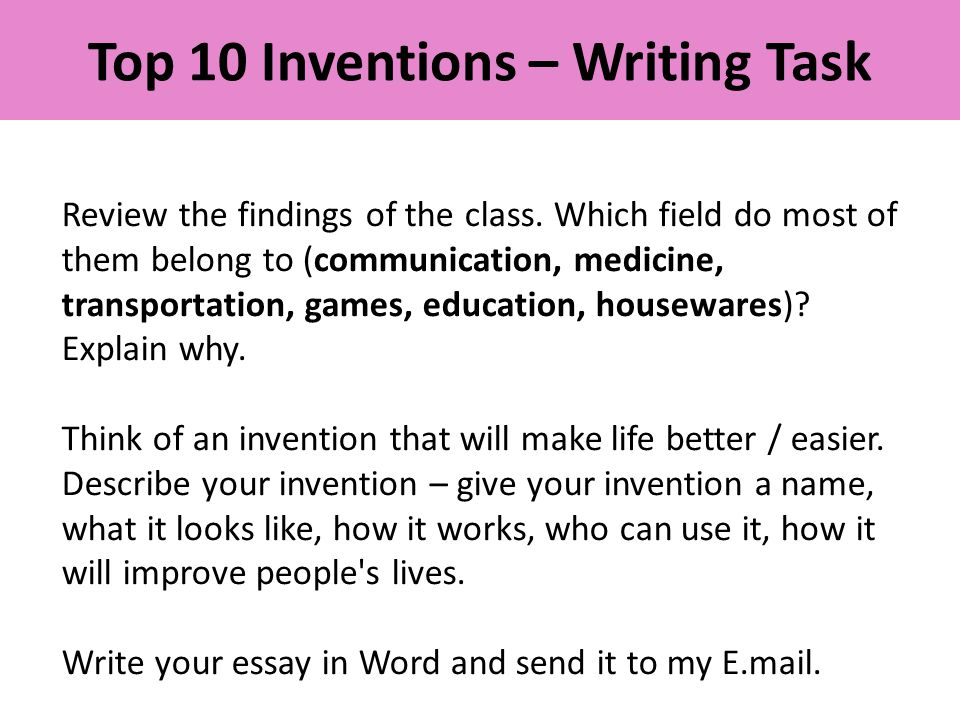 Top 10 Inventions – Writing Task Review the findings of the class.