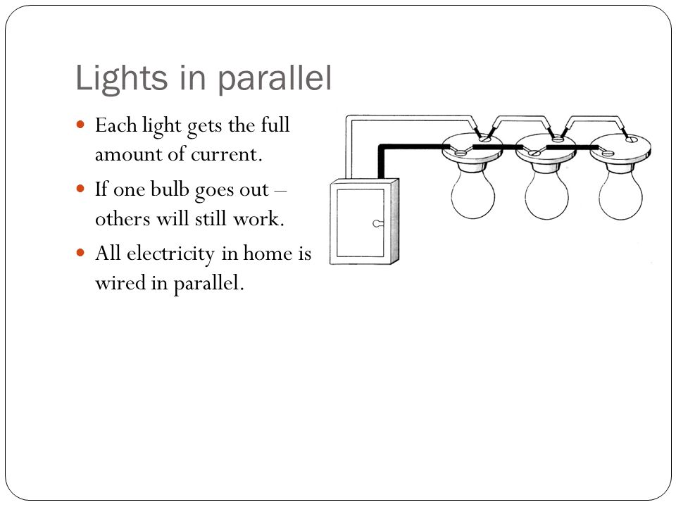 Lights in parallel Each light gets the full amount of current. If one bulb goes out – others will still work. All electricity in home is wired in para