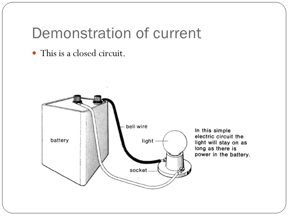 Demonstration of current This is a closed circuit.