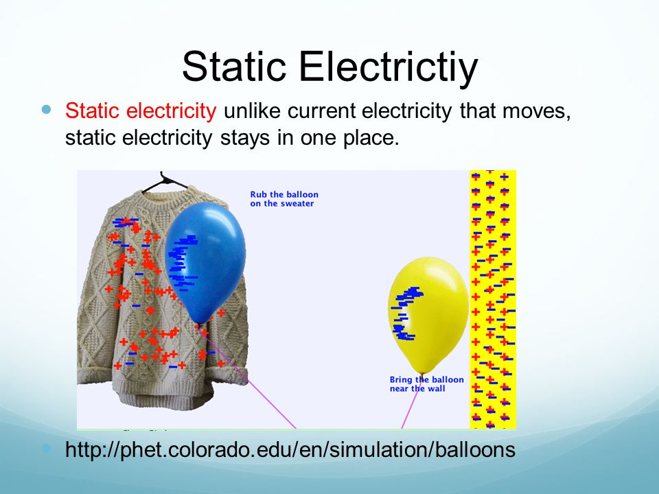 Static Electrictiy Static electricity unlike current electricity that moves, static electricity stays in one place.