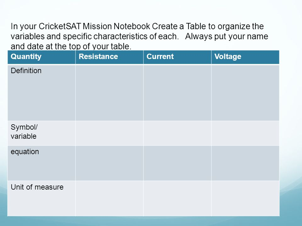 In your CricketSAT Mission Notebook Create a Table to organize the variables and specific characteristics of each.