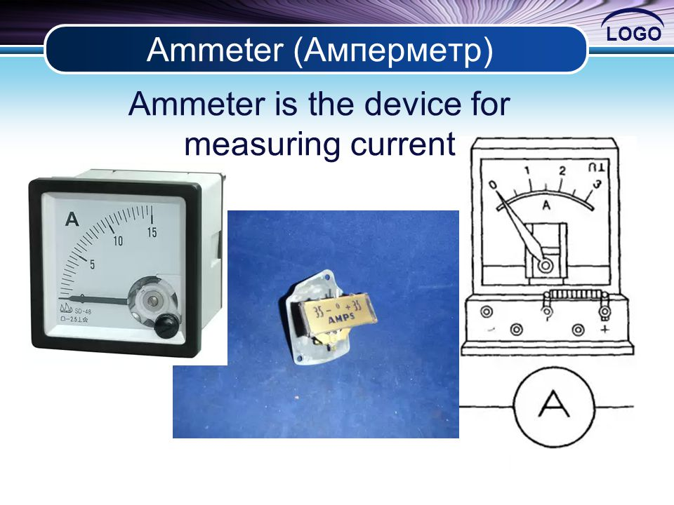 LOGO Ammeter (Амперметр) Ammeter is the device for measuring current