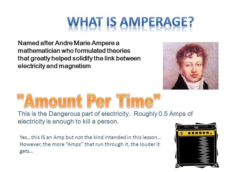 Named after Andre Marie Ampere a mathematician who formulated theories that greatly helped solidify the link between electricity and magnetism This is
