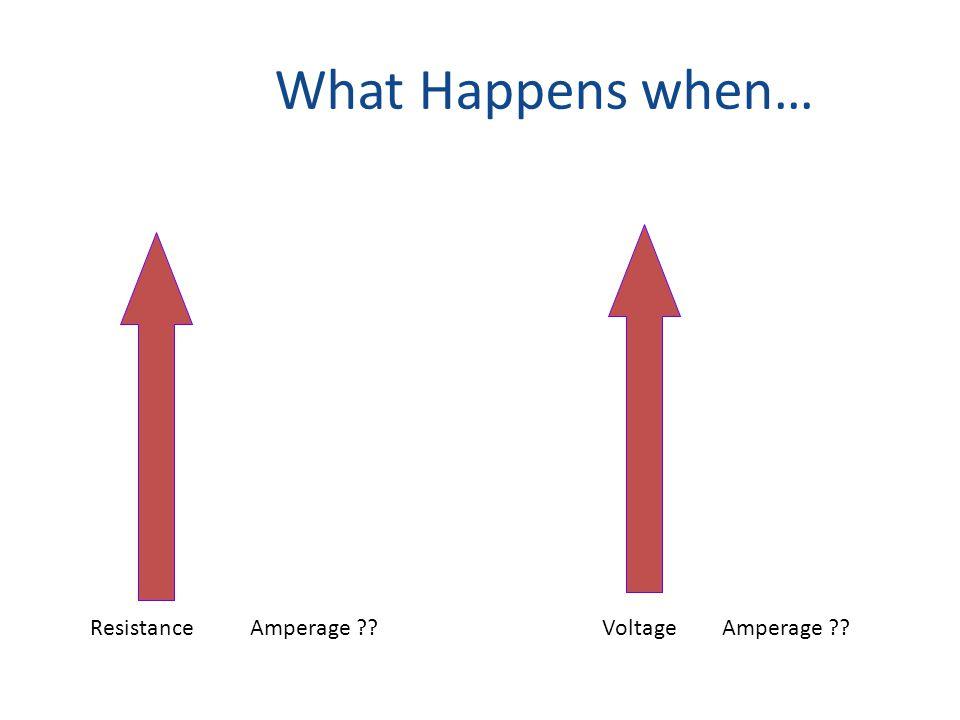 What Happens when… ResistanceAmperage VoltageAmperage