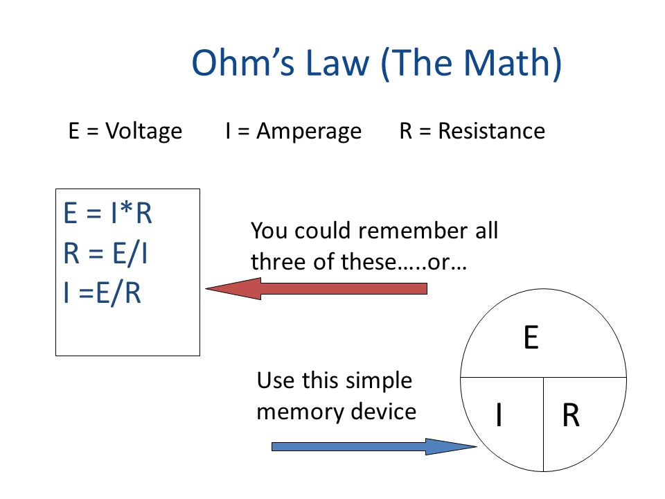 Ohm's Law (The Math) E = I*R R = E/I I =E/R E = Voltage I = Amperage R = Resistance You could remember all three of these…..or… E IR Use this simple memory device