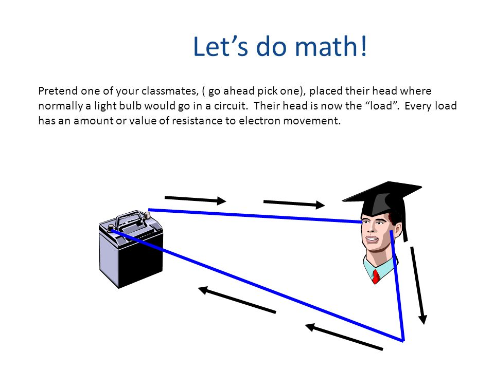 Let's do math! Pretend one of your classmates, ( go ahead pick one), placed their head where normally a light bulb would go in a circuit. Their head i