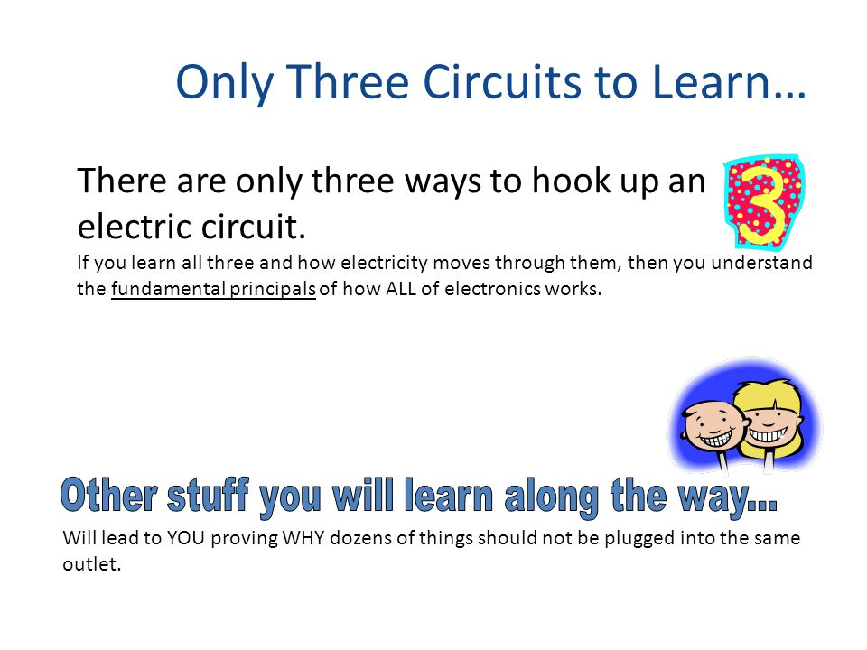 Only Three Circuits to Learn… There are only three ways to hook up an electric circuit.