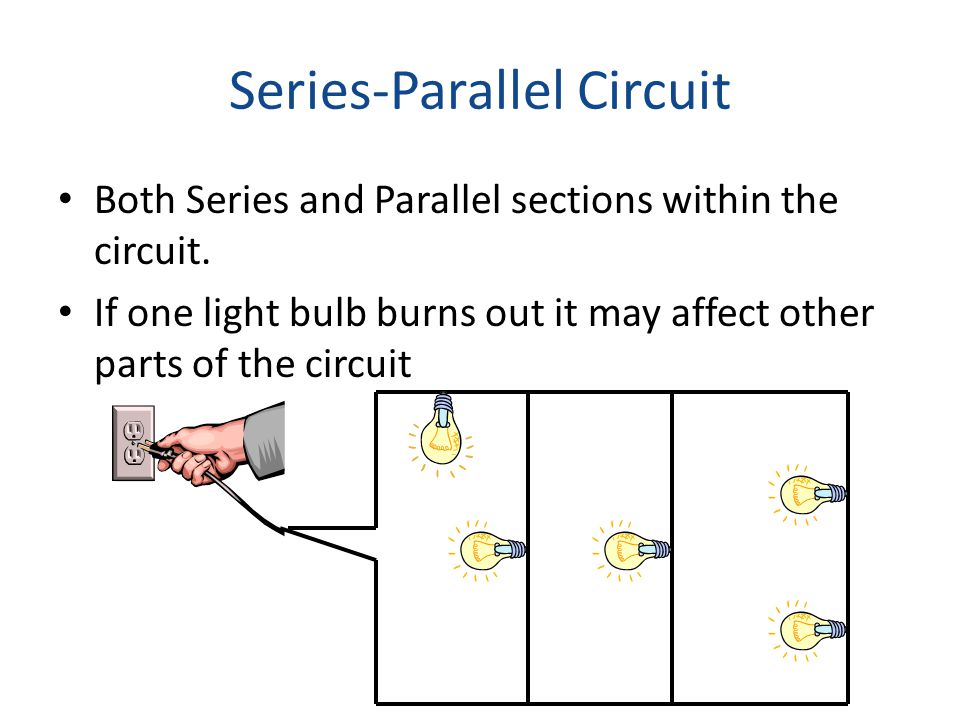 Series-Parallel Circuit Both Series and Parallel sections within the circuit. If one light bulb burns out it may affect other parts of the circuit