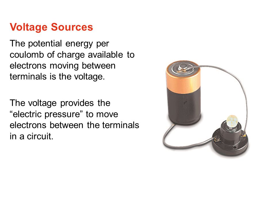 The potential energy per coulomb of charge available to electrons moving between terminals is the voltage.