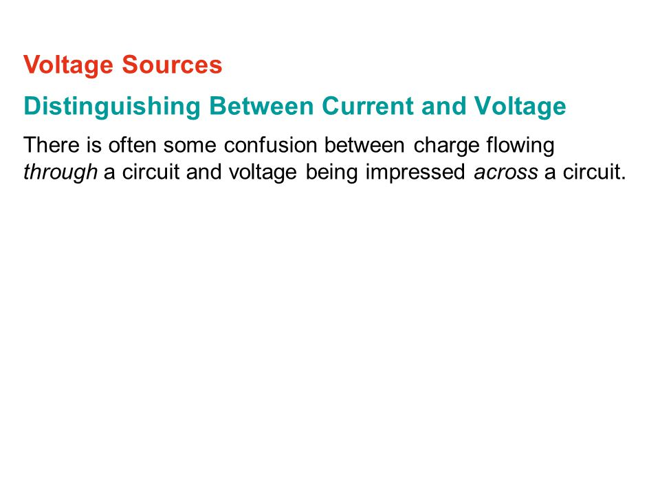 Distinguishing Between Current and Voltage There is often some confusion between charge flowing through a circuit and voltage being impressed across a circuit.
