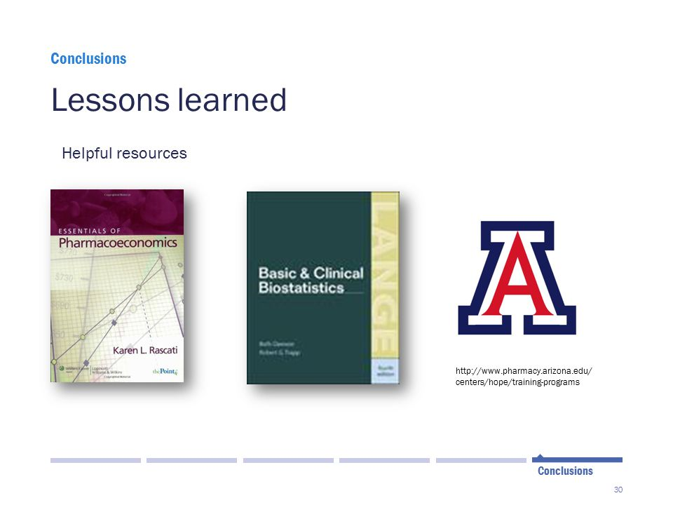 30 Lessons learned Conclusions Helpful resources http://www.pharmacy.arizona.edu/ centers/hope/training-programs