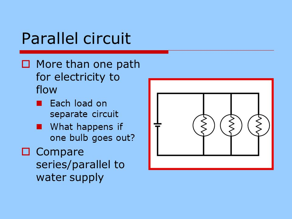 Parallel circuit  More than one path for electricity to flow Each load on separate circuit What happens if one bulb goes out.