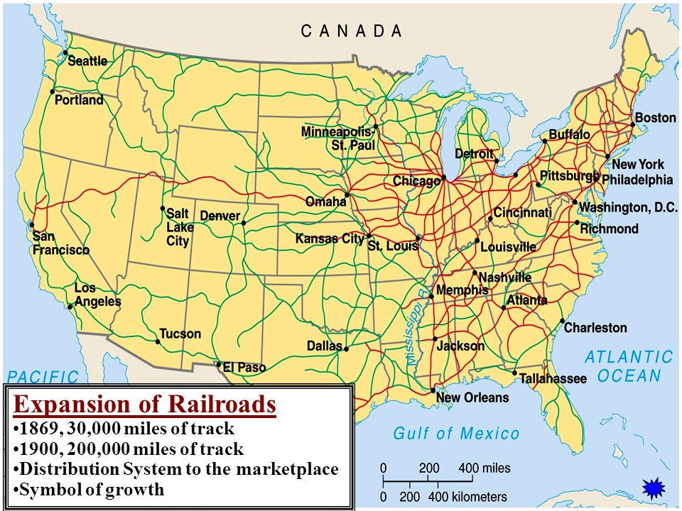 Expansion of Railroads 1869, 30,000 miles of track 1900, 200,000 miles of track Distribution System to the marketplace Symbol of growth