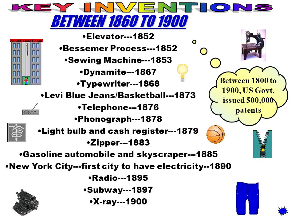 BETWEEN 1860 TO 1900 Elevator---1852 Bessemer Process---1852 Sewing Machine---1853 Dynamite---1867 Typewriter---1868 Levi Blue Jeans/Basketball---1873