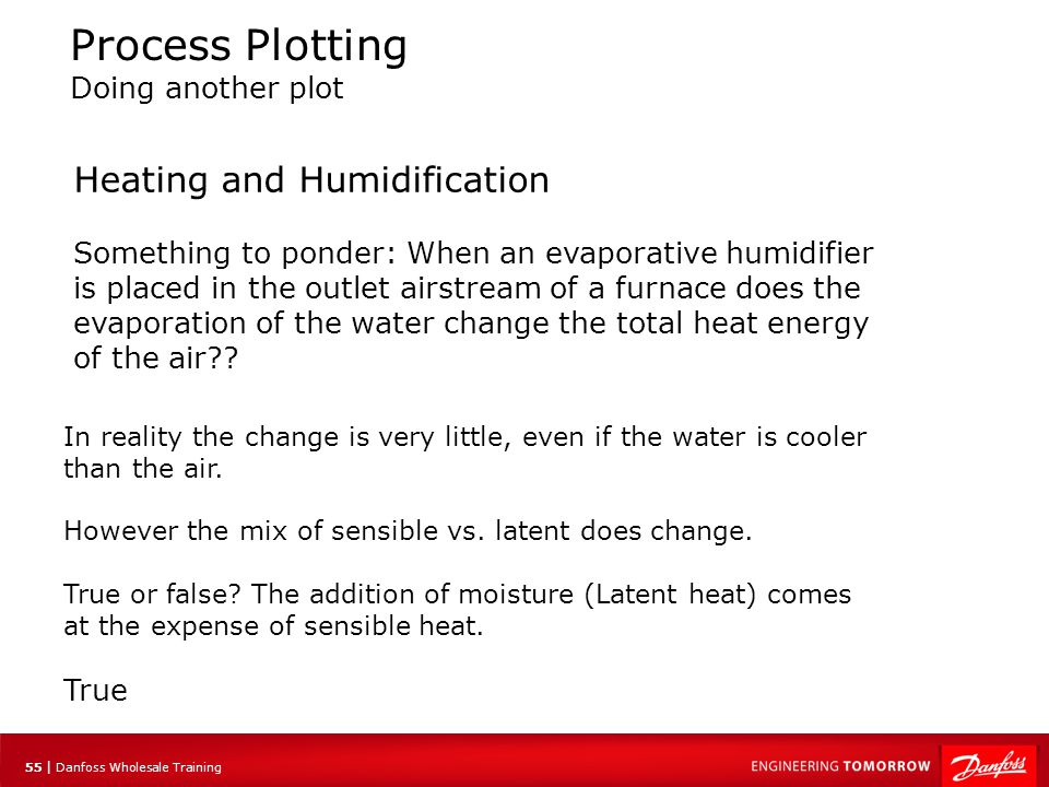 55 | Danfoss Wholesale Training Process Plotting Doing another plot Heating and Humidification Something to ponder: When an evaporative humidifier is