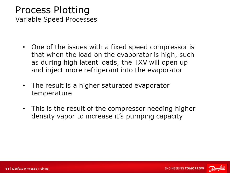 64 | Danfoss Wholesale Training Process Plotting Variable Speed Processes One of the issues with a fixed speed compressor is that when the load on the