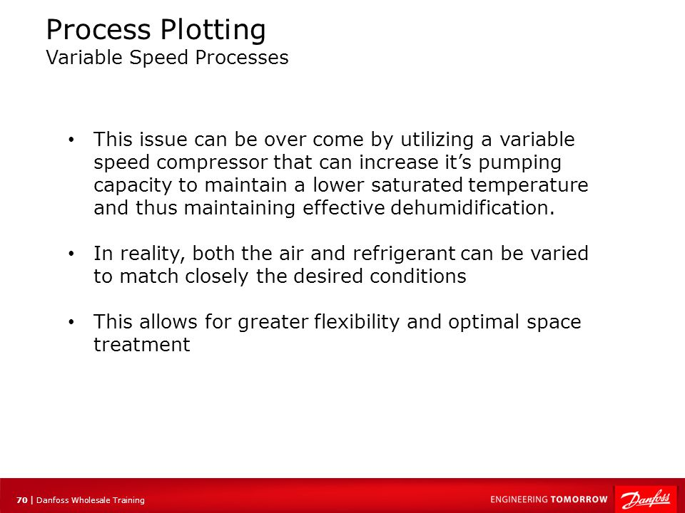 70 | Danfoss Wholesale Training Process Plotting Variable Speed Processes This issue can be over come by utilizing a variable speed compressor that ca