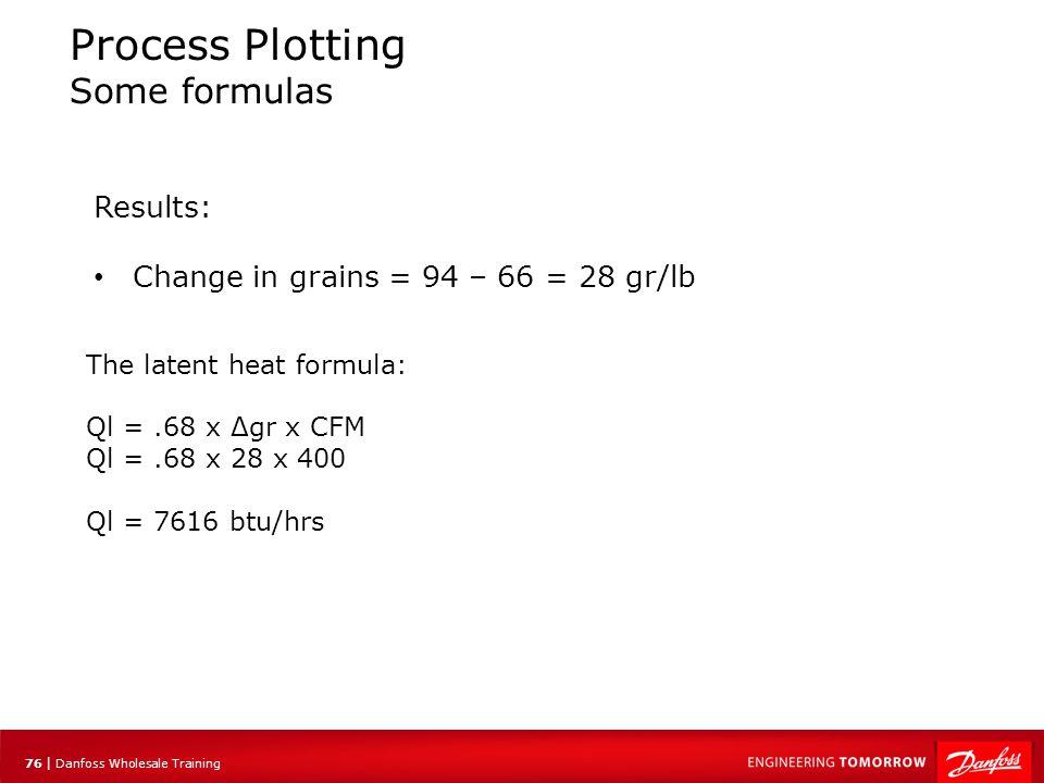 76 | Danfoss Wholesale Training Process Plotting Some formulas The latent heat formula: Ql =.68 x Δgr x CFM Ql =.68 x 28 x 400 Ql = 7616 btu/hrs Resul