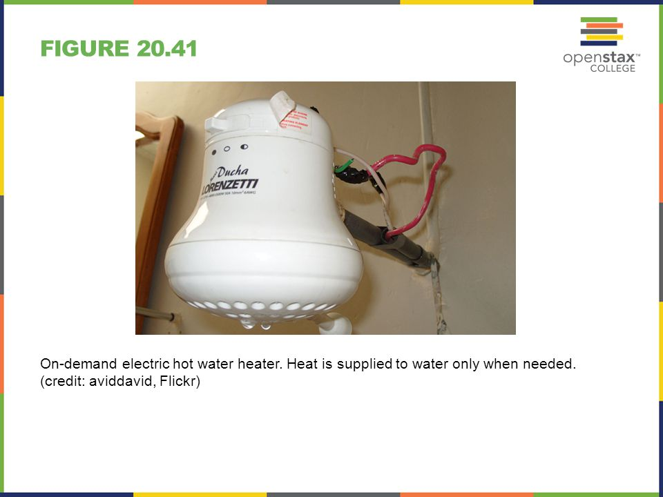 FIGURE 20.41 On-demand electric hot water heater. Heat is supplied to water only when needed. (credit: aviddavid, Flickr)