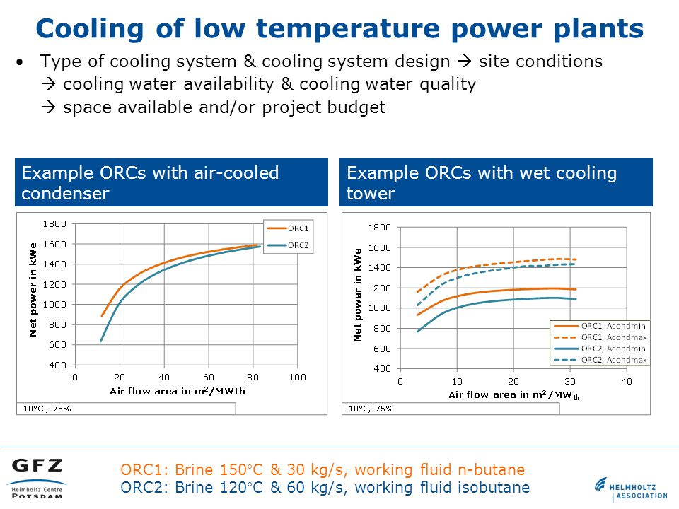 Type of cooling system & cooling system design  site conditions  cooling water availability & cooling water quality  space available and/or project budget Cooling of low temperature power plants Example ORCs with wet cooling tower Example ORCs with air-cooled condenser ORC1: Brine 150°C & 30 kg/s, working fluid n-butane ORC2: Brine 120°C & 60 kg/s, working fluid isobutane
