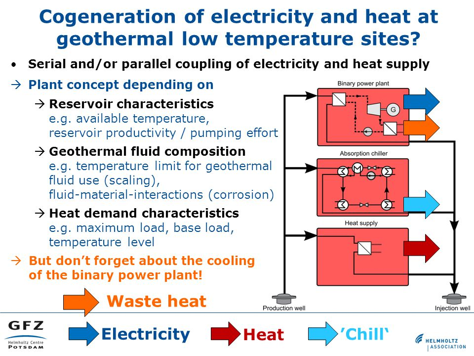 Cogeneration of electricity and heat at geothermal low temperature sites.