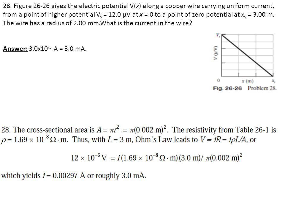 28. Figure 26-26 gives the electric potential V(x) along a copper wire carrying uniform current, from a point of higher potential V s = 12.0 μV at x =