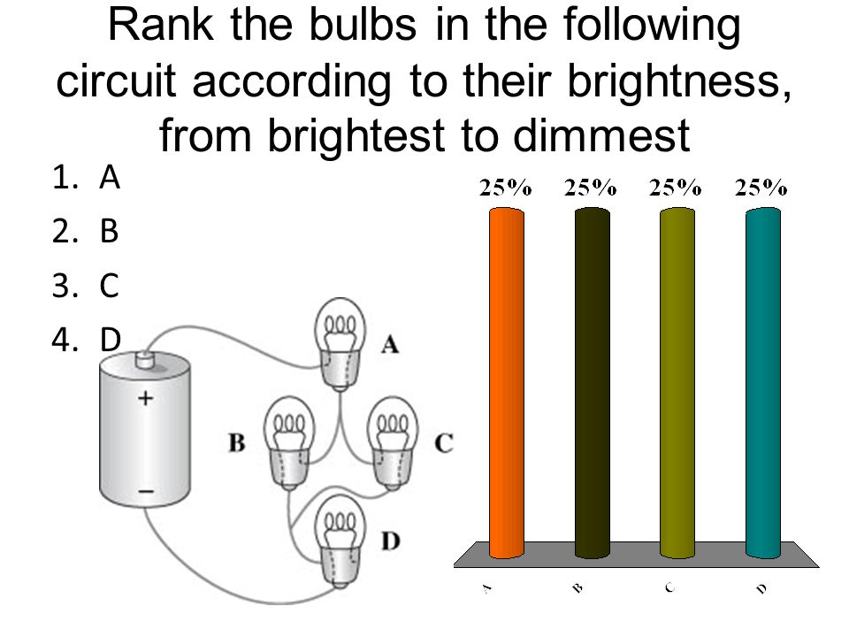Rank the bulbs in the following circuit according to their brightness, from brightest to dimmest 1.A 2.B 3.C 4.D