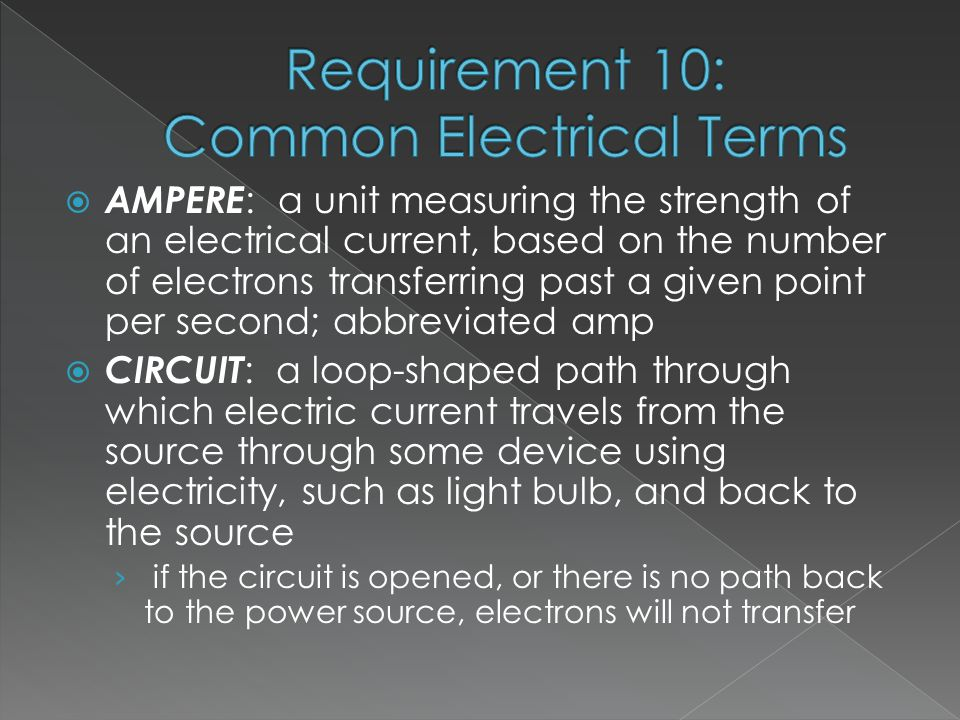 AMPERE : a unit measuring the strength of an electrical current, based on the number of electrons transferring past a given point per second; abbreviated amp  CIRCUIT : a loop-shaped path through which electric current travels from the source through some device using electricity, such as light bulb, and back to the source › if the circuit is opened, or there is no path back to the power source, electrons will not transfer