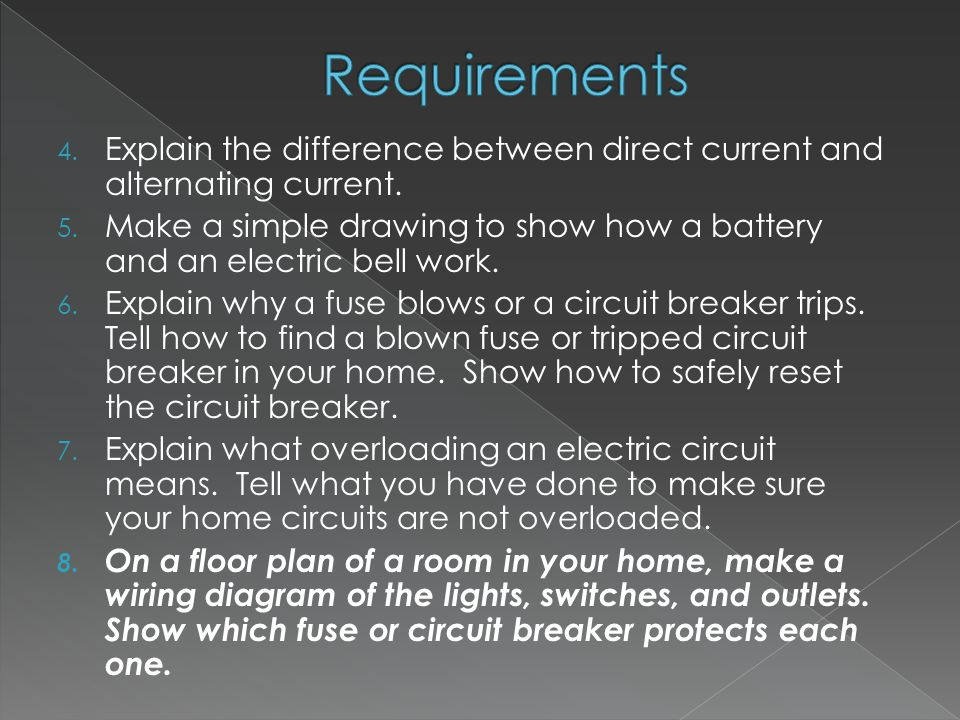 4. Explain the difference between direct current and alternating current.