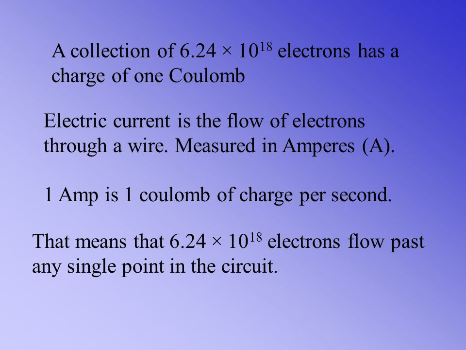 If a single electron has a charge of 1.60 × 10 -19 Coulombs, then Now flip to get the number of electrons in 1 coulomb of charge