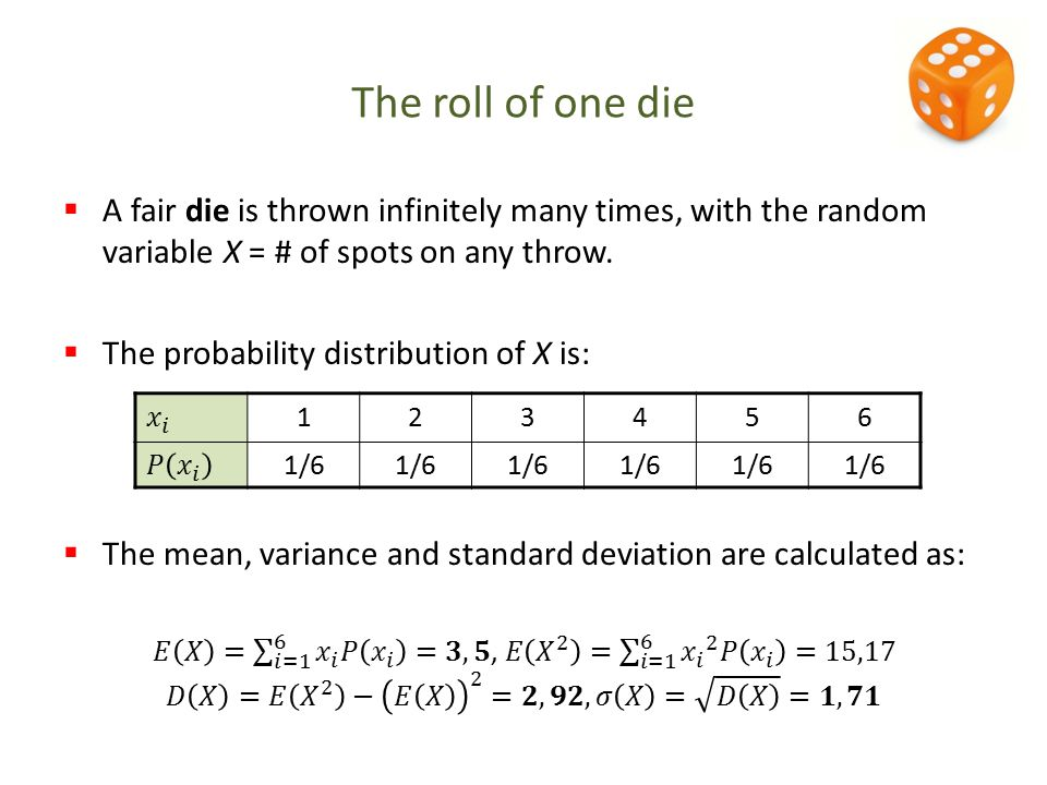123456 1/6 The roll of one die