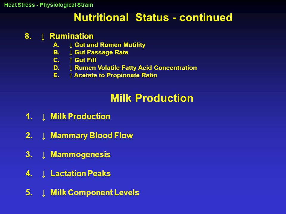 Heat Stress - Physiological Strain Nutritional Status - continued 8.↓ Rumination A.↓ Gut and Rumen Motility B.↓ Gut Passage Rate C.↑ Gut Fill D.↓ Rumen Volatile Fatty Acid Concentration E.↑ Acetate to Propionate Ratio Milk Production 1.↓ Milk Production 2.↓ Mammary Blood Flow 3.↓ Mammogenesis 4.↓ Lactation Peaks 5.↓ Milk Component Levels