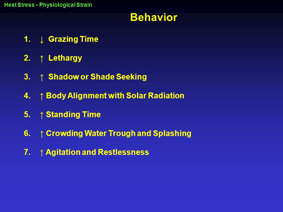 Heat Stress - Physiological Strain Behavior 1.↓ Grazing Time 2.↑ Lethargy 3.↑ Shadow or Shade Seeking 4.↑ Body Alignment with Solar Radiation 5.↑ Standing Time 6.↑ Crowding Water Trough and Splashing 7.↑ Agitation and Restlessness