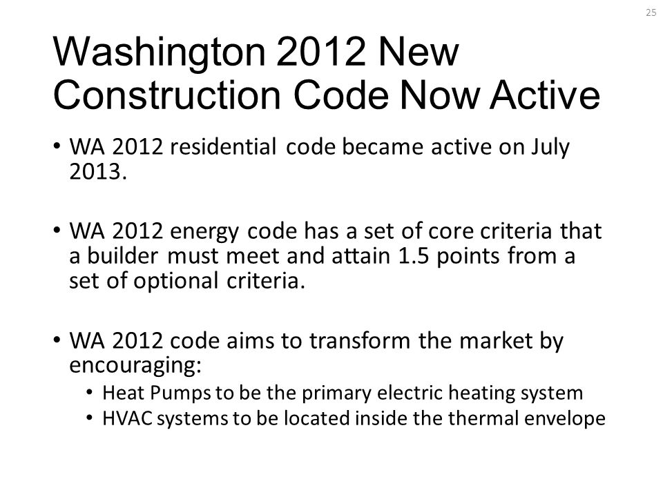 Washington 2012 New Construction Code Now Active WA 2012 residential code became active on July 2013.