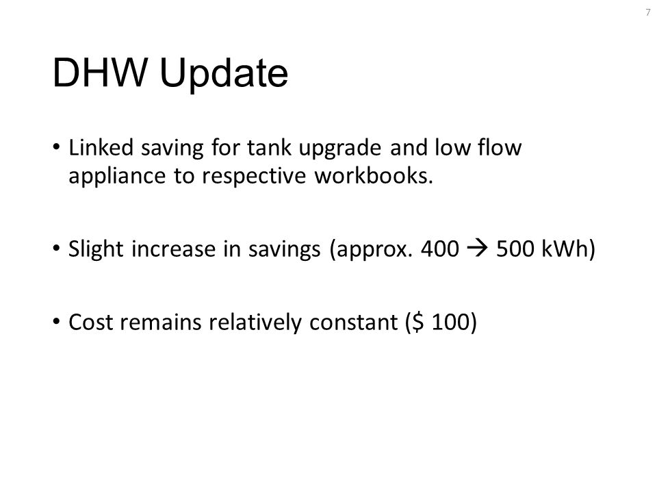 DHW Update Linked saving for tank upgrade and low flow appliance to respective workbooks.