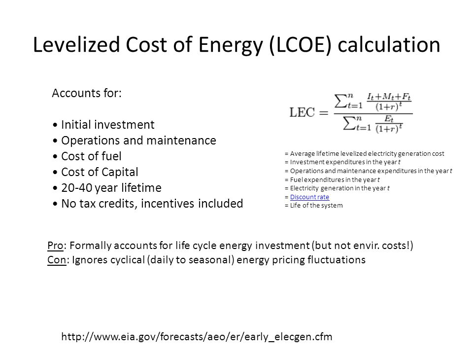 Levelized Cost of Energy (LCOE) calculation http://www.eia.gov/forecasts/aeo/er/early_elecgen.cfm Accounts for: Initial investment Operations and main