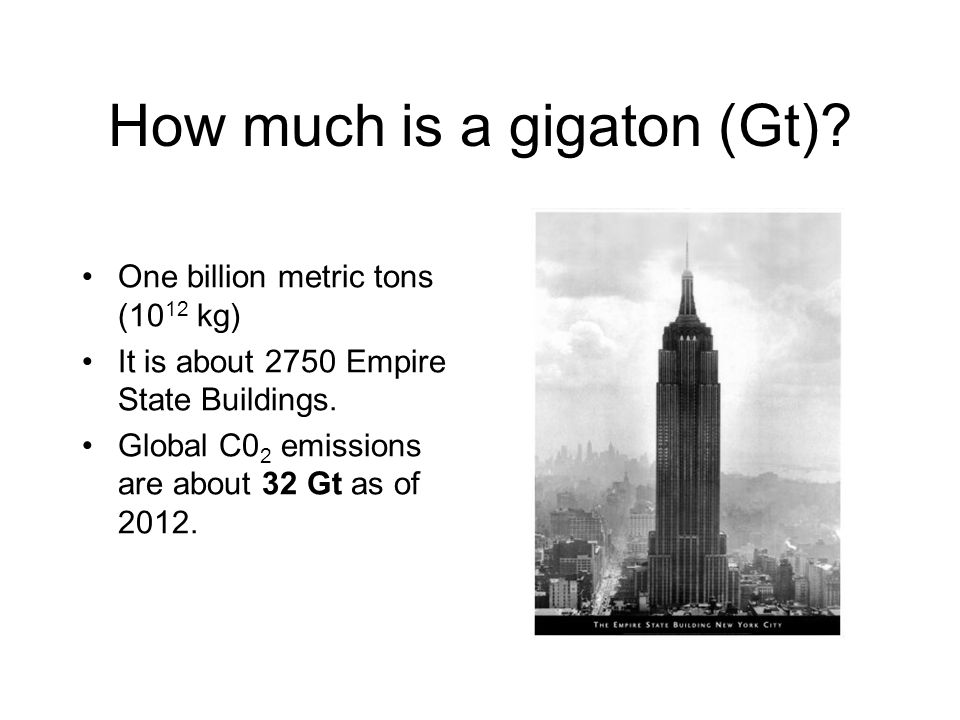 How much is a gigaton (Gt)? One billion metric tons (10 12 kg) It is about 2750 Empire State Buildings. Global C0 2 emissions are about 32 Gt as of 20
