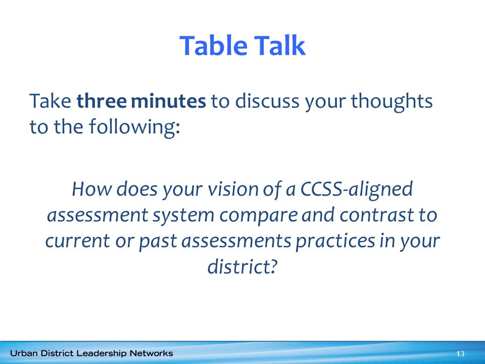 Table Talk Take three minutes to discuss your thoughts to the following: How does your vision of a CCSS-aligned assessment system compare and contrast