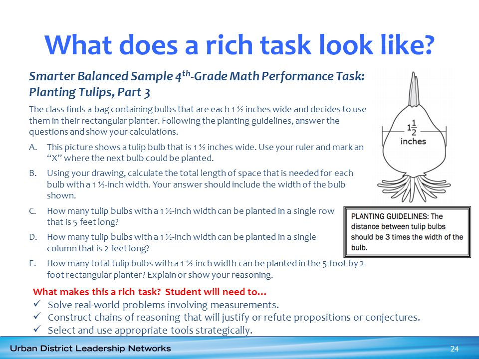 What does a rich task look like? Smarter Balanced Sample 4 th -Grade Math Performance Task: Planting Tulips, Part 3 The class finds a bag containing b