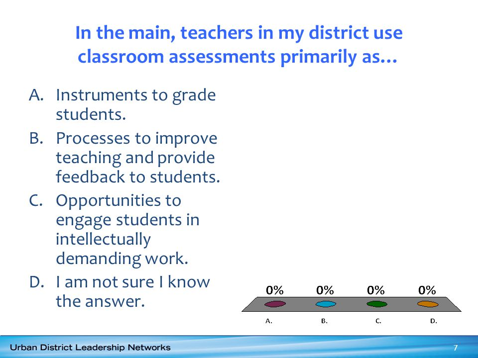 In the main, teachers in my district use classroom assessments primarily as… A.Instruments to grade students. B.Processes to improve teaching and prov