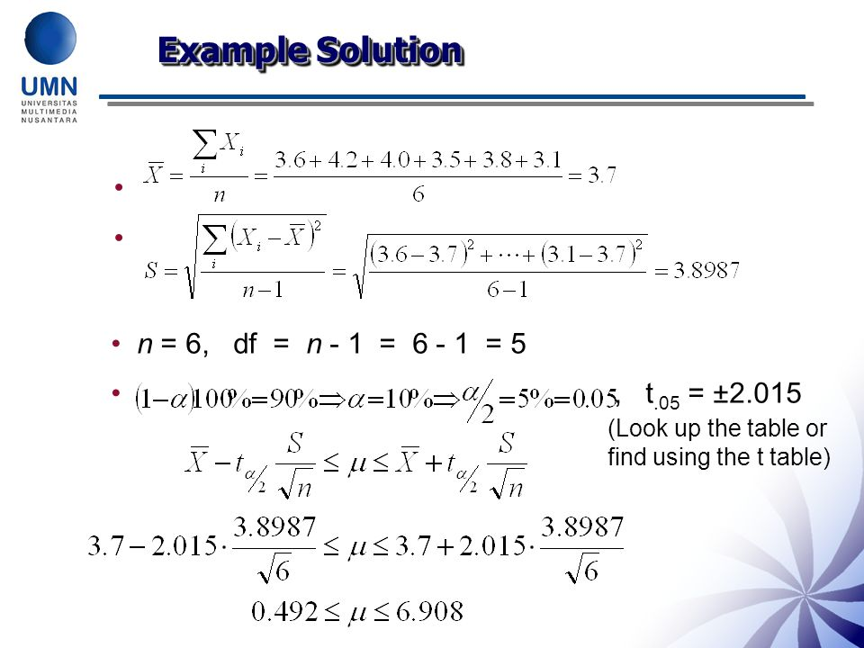 n = 6, df = n - 1 = 6 - 1 = 5, t.05 = ±2.015 Example Solution (Look up the table or find using the t table)