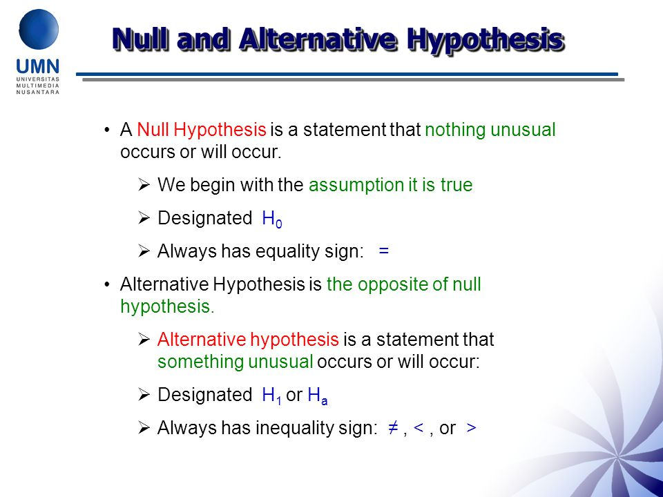 Null and Alternative Hypothesis A Null Hypothesis is a statement that nothing unusual occurs or will occur.  We begin with the assumption it is true