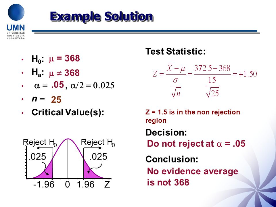 H 0 : H a :  ,   n  Critical Value(s): Test Statistic: Z = 1.5 is in the non rejection region Decision: Conclusion:  = 368   368.05 25