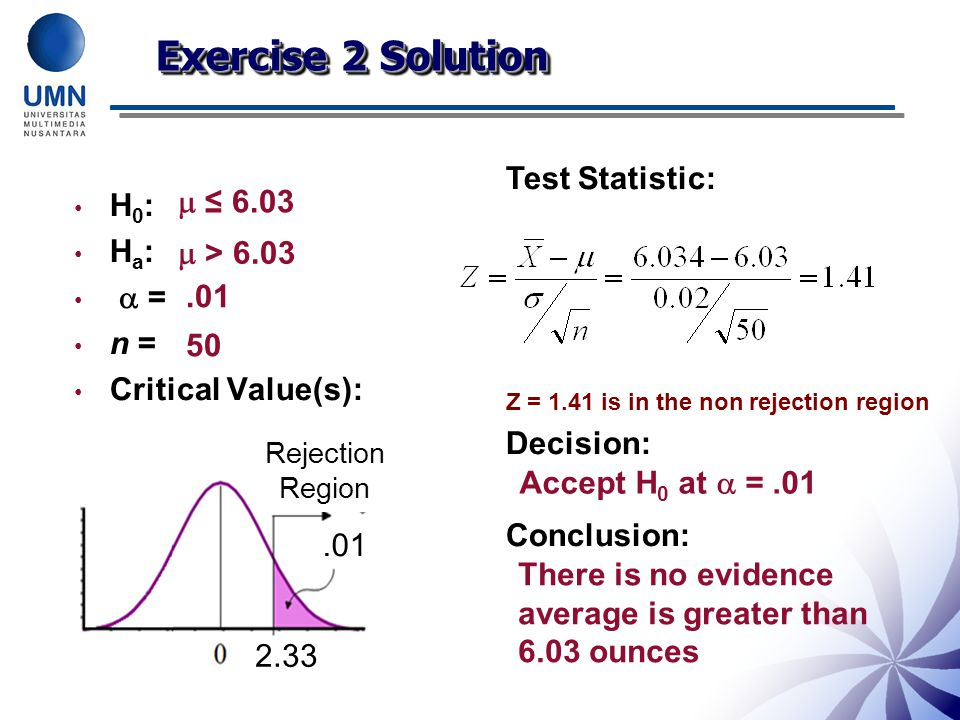 H 0 : H a :  = n = Critical Value(s): Test Statistic: Z = 1.41 is in the non rejection region Decision: Conclusion:  ≤ 6.03  > 6.03.01 50 Accept H