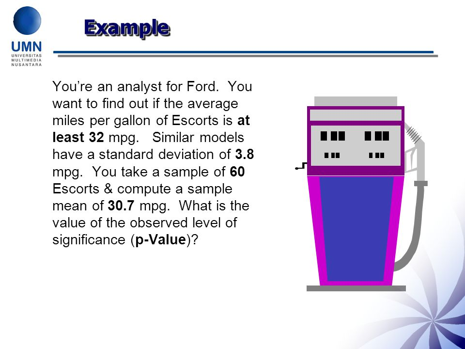 You're an analyst for Ford. You want to find out if the average miles per gallon of Escorts is at least 32 mpg. Similar models have a standard deviati