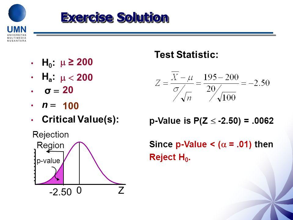 H 0 : H a : σ  n  Critical Value(s): Test Statistic:  ≥ 200   200 20 100 Z 0 -2.50 p-value Exercise Solution Rejection Region p-Value is P(Z  -2