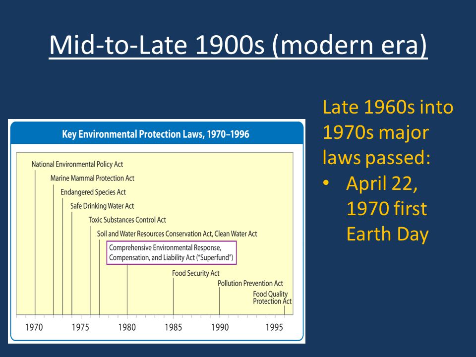 Late 1960s into 1970s major laws passed: April 22, 1970 first Earth Day